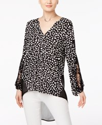August Silk Mixed Media High Low Top Black White Dot