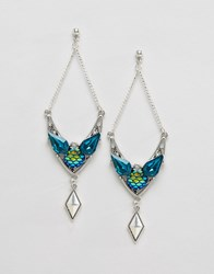 Asos Mermaid Chandelier Earrings Blue