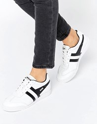 Gola Premium Leather Harrier Trainers Black White