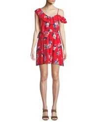Cupcakes And Cashmere Cordetta Asymmetric Ruffled Floral Print Dress Red