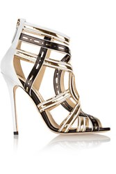 Brian Atwood Marva Chain Embellished Leather Sandals Black