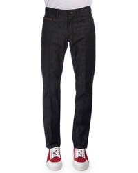Berluti Stretch Denim Jeans With Leather Detail Navy