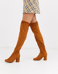 Pimkie Heeled Knee High Boots In Camel Brown