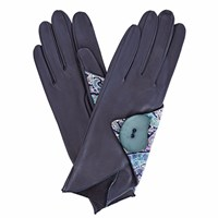 Gizelle Renee Padma Navy Leather Gloves With Bc Liberty Tana Lawn Blue