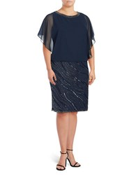 J Kara Plus Embellished Blouson Dress Navy Black