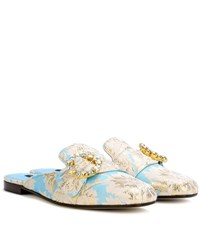 Dolce And Gabbana Jacquard Slip On Slippers Blue