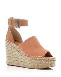 Marc Fisher Ltd. Adalyn Ankle Buckle Espadrille Platform Wedge Sandals Light Orange