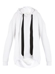 Marques Almeida Oversized Hooded Cotton Blend Sweatshirt White