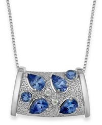 Macy's Tanzanite 1 3 4 Ct. T.W. And Diamond Accent Pendant Necklace In Sterling Silver