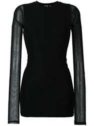 Blk Dnm Sheer Knit Blouse Black