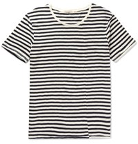 Nudie Jeans Ove Striped Slub Organic Cotton Jersey T Shirt Off White