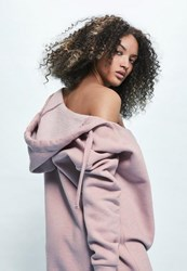 Missguided Londunn Pink Cowl Neck Hooded Sweater Dress Blush