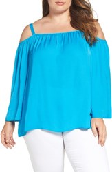 Vince Camuto Plus Size Women's Rumple Cold Shoulder Blouse