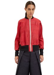 Alexa Stark Raw Silk Bomber Jacket Red