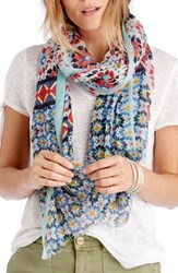 Sole Society Mixed Tile Print Scarf Blue Multi