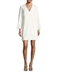 Tibi Structured Crepe V Neck Dress Ivory