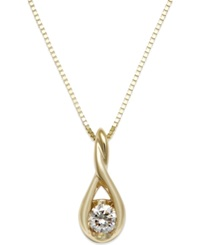Sirena Diamond Twist Pendant Necklace In 14K Gold 1 8 Ct. T.W. No Color