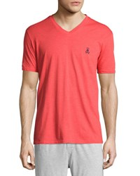 Psycho Bunny Classic Embroidered Logo V Neck Lounge Tee Poppy Red
