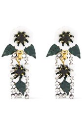 Elizabeth Cole Woman 24 Karat Gold Plated Crystal And Resin Earrings White