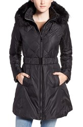 Zzdnu Cece Women's 'Hailey' Belted Down Coat With Removable Faux Fur Trim Hood