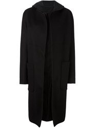 Jil Sander Draped Hooded Coat Black