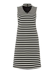 Episode Striped Fit And Flare Dress With Choker Black White Black White