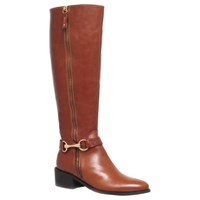 Carvela Waffle Leather Horsebit Trim Knee Boots Tan