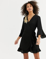 Urban Bliss Nicole Wrap Dress With Embroidered Detail Black