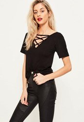 Missguided Black Lace Up Detail V Neck T Shirt