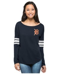 '47 Brand Women's Long Sleeve Detroit Tigers Courtside T Shirt Navy
