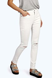 Boohoo High Rise Ripped Knee Super Skinny Jeans White