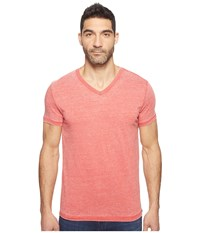 Lucky Brand Burnout V Neck Tee Pompeian Red Men's T Shirt Beige