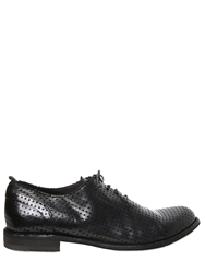 Officine Creative Perforated Brushed Leather Oxford Shoes Black