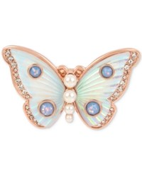 Betsey Johnson Rose Gold Tone Crystal And Imitation Pearl Butterfly Ring White