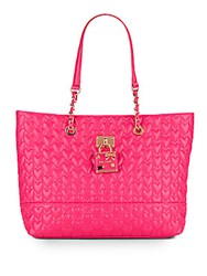 Betsey Johnson Be My Baby Quilted Heart Tote Fuchsia