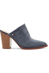 Sam Edelman Bates Perforated Suede Mules Storm Blue