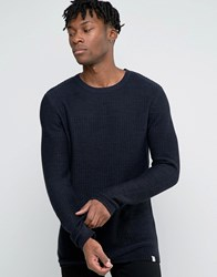 Jack And Jones Crew Neck Knit In Yarn Dye Navy