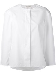 Veronique Leroy Collarless Shirt Women Cotton 40 White