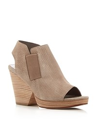 Eileen Fisher Plus Basket Weave Open Toe High Heel Booties Earth