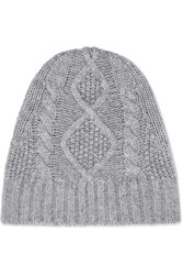 Frame Cable Knit Cashmere Beanie Gray