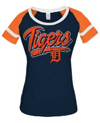 5Th And Ocean Women's Detroit Tigers Homerun T Shirt Navy