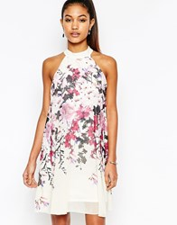 Lipsy High Neck Babydoll Dress In All Over Floral Print Multi