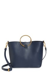 Street Level Ring Handle Faux Leather Tote And Zip Pouch Blue Navy