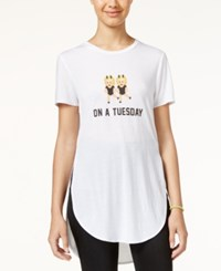 Freeze 24 7 Juniors' Emoji High Low Graphic Tunic White
