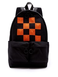 Off White Check Embroidered Cotton Canvas Backpack Black Multi