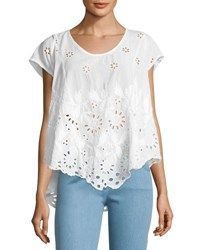 Johnny Was Jen Eyelet Flair Blouse White