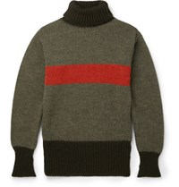 Nigel Cabourn Striped Wool Rollneck Sweater Army Green
