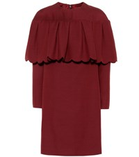 Valentino Wool And Silk Crepe Minidress Red