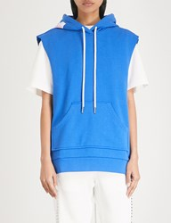 Moandco. Sleeveless Cotton Blend Hoody Snorkel Blue