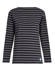 Orcival Breton Striped Cotton Top Grey Multi
